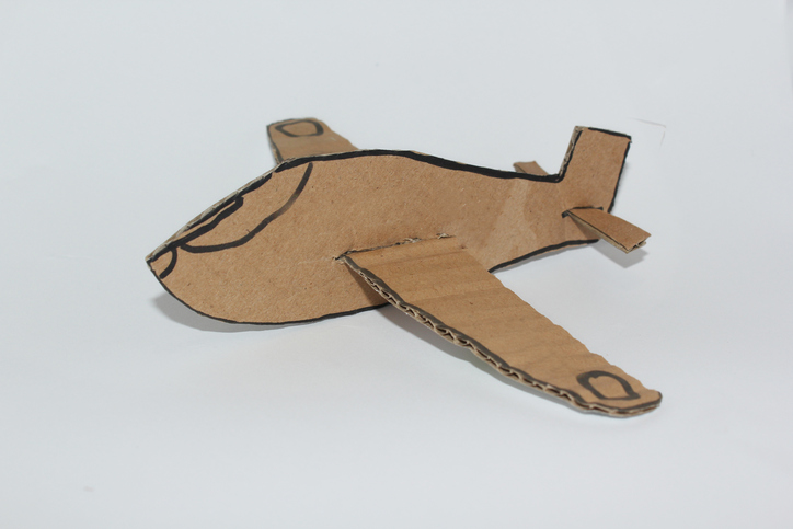 cardboard plane isolate white background