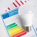 LED light bulb on energy efficiency chart