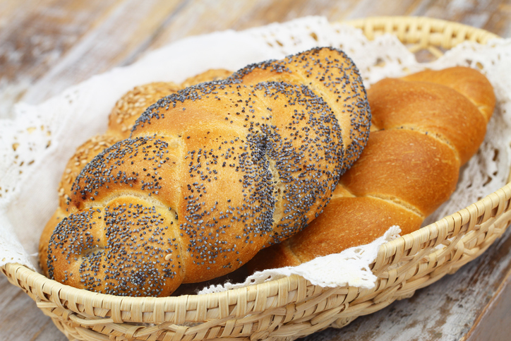 Challah bread with poppy seeds, sesame seeds and plain